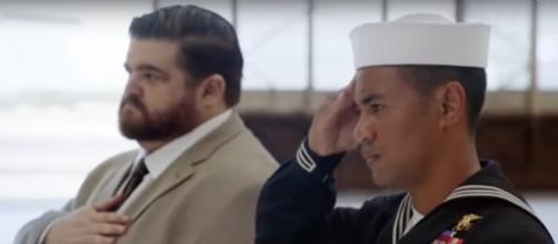Junior (Beulah Koale) and Jerry (Jorge Garcia) fulfill an honored and sacred duty on Hawaii Five-O. [Image source: Spoiler TV-YouTube]