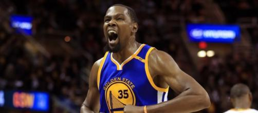 Kevin Durant scored 38 points in a Warriors' road win over the Jazz on October 19. - [NBA / YouTube screencap]