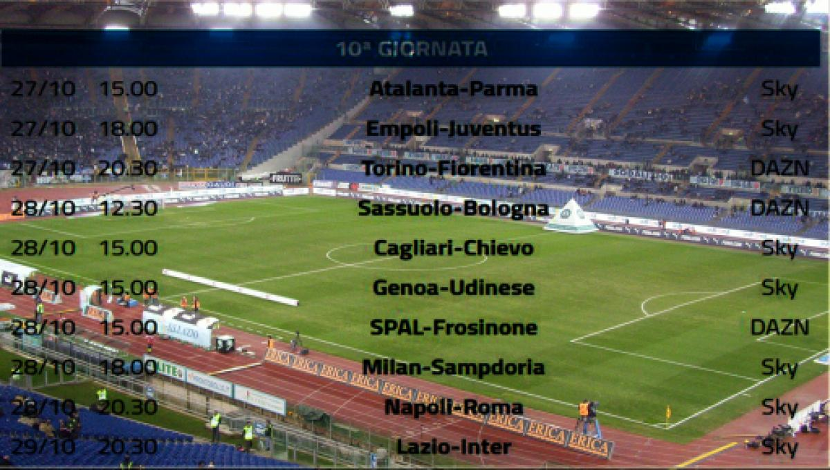Calendario Serie A 2020 18 Anticipi E Posticipi.Calendario Completo Serie A 10 Turno Su Dazn E Sky Lazio