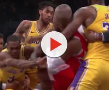 LeBron James had a front row seat for the Rondo vs Paul fight during (October 20) Lakers' loss to the Rockets. - [ZA17 / YouTube screencap]