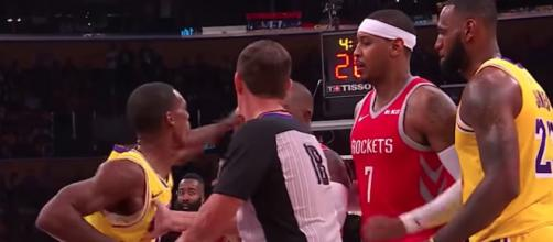 The Lakers' Rajon Rondo and Rockets' Chris Paul were at the center of a huge NBA fight Saturday night. - [ESPN / YouTube screencap]