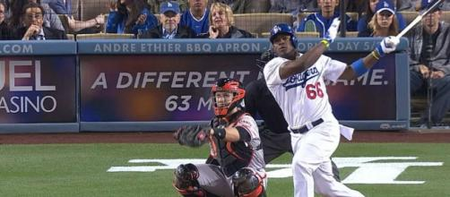 Yasiel Puig was one of the key players in the Dodgers' 5-1 NLCS Game 7 win over Milwaukee. [Image via MLB/YouTube]
