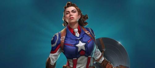 Peggy Carter como a Capitã América no jogo Marvel Puzzle Quest.