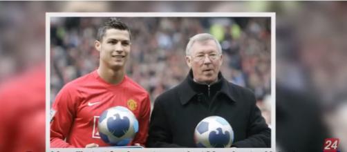 Cristiano Ronaldo com Alex Ferguson [Imagem via YouTube]