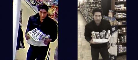 Blackpool Police released a CCTV image of a man stealing beer from a supermarket. [Image: Left Blackpool police, right @DavidSchwimmer/Twitter]