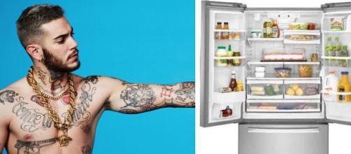 Emis Killa a sinistra, un frigorifero a destra