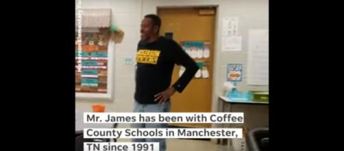 Janitor, James Anthony, gets the birthday surprise he never expected from kindergartners in Tennessee. [Image source:The Tennessean-YouTube]