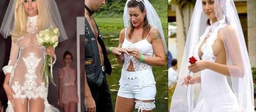 As noivas usaram muita criatividade nesses vestidos.