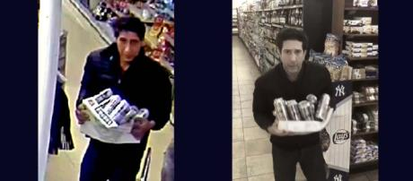 The Schwimmer lookalike who stole beer may have been identified. [Images left Blackpool Police, right @davidschwimmer/Twitter]