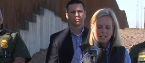 Homeland Security Secretary tours border wall [Image courtesy – ABC 10 News YouTube video]