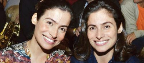 Renata Vasconcellos com a irmã gêmea Lanza Mazza. (foto reprodução).