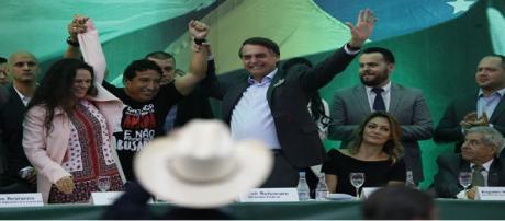 Jair Bolsonaro no momento em que lançou a sua candidatura presidencial pelo PSL