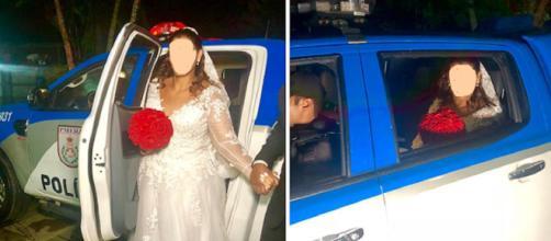 Noiva vai para casamento em carro da polícia. (foto reprodução).