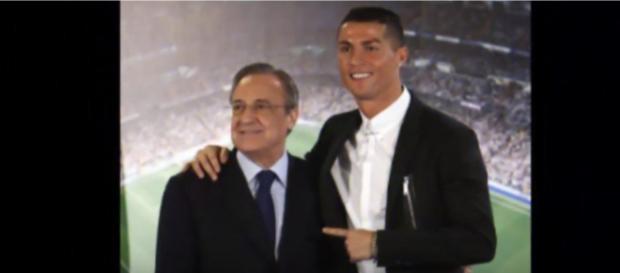 Florentino Pérez e Cristiano Ronaldo [Imagem via YouTube]