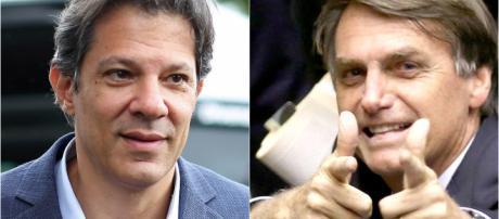 À esquerda Haddad, à direita Bolsonaro I Galeria BN
