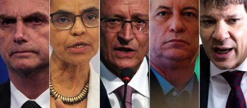 Cinco principais candidatos a presidência do Brasil. (foto reprodução).