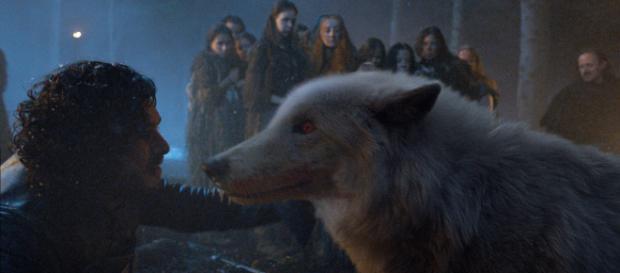 """Fantasma y Jon Nieve en un fotograma de """"Juego de Tronos"""""""
