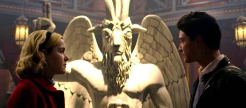 "Satanic Temple is suing for copyright infringement for the use of Baphomet in ""Chilling Adventures of Sabrina."" [Image @jackofalltrad_e/Twitter]"