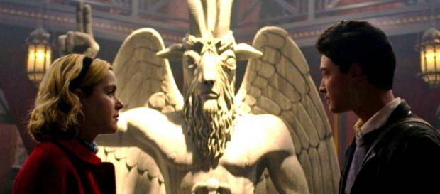 """Satanic Temple is suing for copyright infringement for the use of Baphomet in """"Chilling Adventures of Sabrina."""" [Image @jackofalltrad_e/Twitter]"""