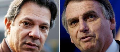 À esquerda o petista Haddad, à direita Jair Bolsonaro- Galeria BN