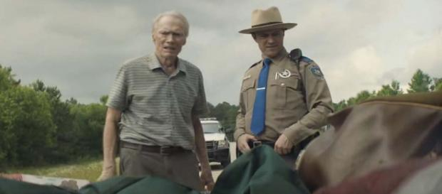 "Clint Eastwood, 88, stars and directs the film ""The Mule"" based on a true story. [Image Warner Bros. UK/YouTube]"