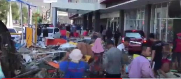 Indonesia hit with Tsunami and Earthquake [Image credit - DNAIndiaNews YouTube video]