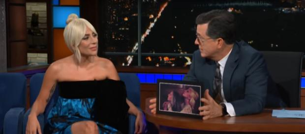 Lady Gaga and Stephen Colbert share a heartfelt chat and meaningful toast on her first Late Show visit. [Image source:TheLateShowSC-YouTube]