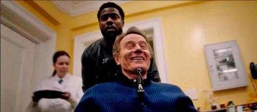 """The Upside"" stars Bryan Cranston and Kevin Hart as a former convict and billionaire quadriplegic. [Image @choseAmobile1/Twitter]"