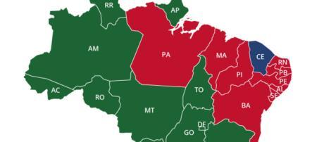 Estados pontados na cor verde mostra onde Bolsonaro venceu