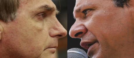 Jair Bolsonaro (PSL) e Fernando Haddad (PT) disputam o cargo de Presidente do Brasil (Imagem: Reprodução/Poder360)