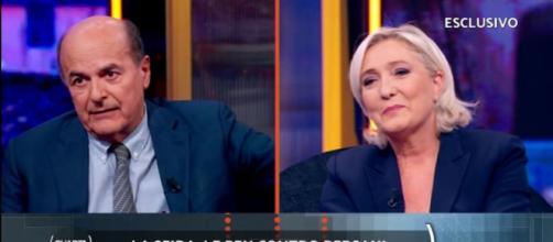 Dibattito fra Pier Luigi Bersani e Marine Le Pen, durante la puntata di Quarta Repubblica di lunedì 8 settembre