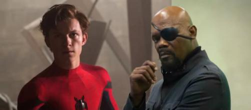 Peter Parker and Nick Fury are spotted together in a leaked bts set photo [Image Credit: Emergency Awesome/YouTube screencap]