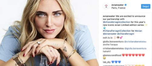 Chiara Ferragni e l'acqua Evian da 8 euro.