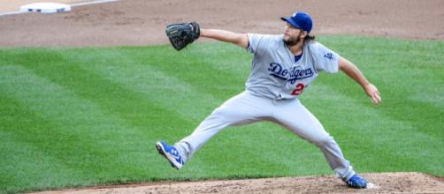 Clayton Kershaw threw eight scoreless innings in Game 2 against the Braves. [Image Source: Flickr | Rich L. Wang]