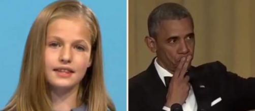 Leonor en el discurso junto al meme de Obama
