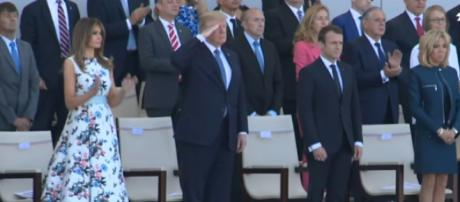 Trump salutes US troops at Bastille Day parade. [Image source/AFP News Agency YouTube video]