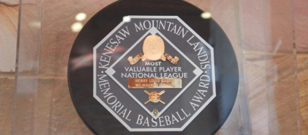 Arenado, Baez and Yelich are all competing for the MVP award pictured above. [image source: Thomson200- Wikimedia Commons]