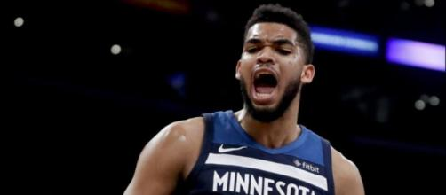 Karl-Anthony Towns achieved an impressive double-double in a Timberwolves win. [Image via NBA/YouTube]