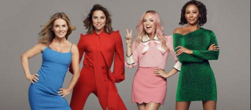 Le Spice Girls nella nuova formazione a 4. Da sinistra: Geri Halliwell (Horner), Melanie C, Emma Bunton e Mel B.