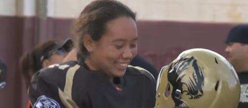 McKinley Tigers' starting quarterback Alexandria Buchanan get surprise from NFL's Drew Brees [Image Source: KHON2 News - YouTube]