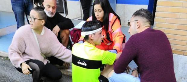 L'arbitro Riccardo Bernardini di Ciampino subito dopo l'aggressione