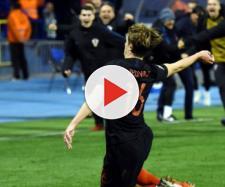 Croazia-Spagna 3-2: l'esultanza di Tin Jedvaj