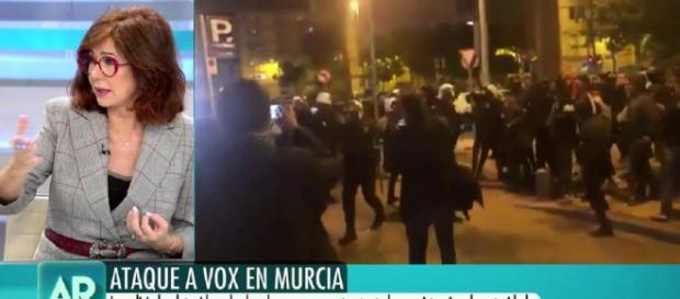 Quintana analiza las imágenes del boicot a VOX en Murcia. / telecinco.es