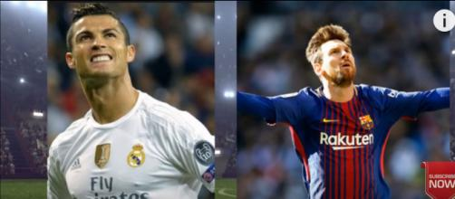 Cristiano Ronaldo e Messi [Imagem via YouTube]