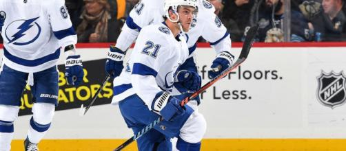 Tampa Bay's Brayden Point was among the NHL's star performers on Thursday night. [Image via NHL/YouTube]