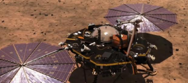Artist's impression of how NASA's InSight will land on Mars [Image source/The New York Times YouTube video]