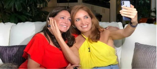 Atriz Susana Vieira fez selfie com Poliana Abritta para entrevista no Fantástico no domingo (18).