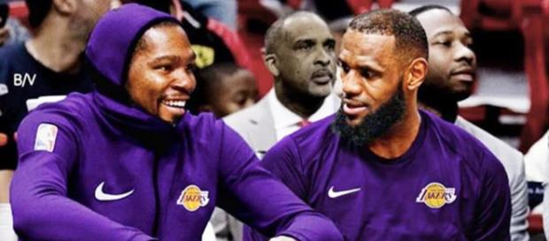 Kevin Durant has a good chance of joining LeBron James on the Lakers next season, per Vegas odds. - [Sporthub / YouTube screencap]