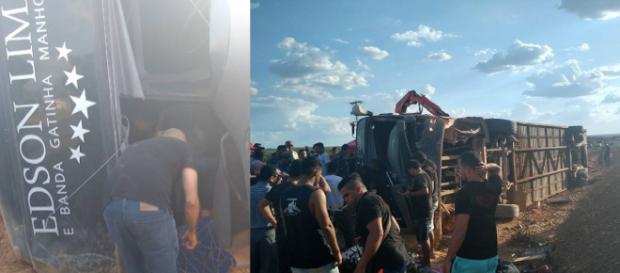 Ônibus da banda Gatinha Manhosa sofre acidente com vítimas no Piauí. (foto reprodução).