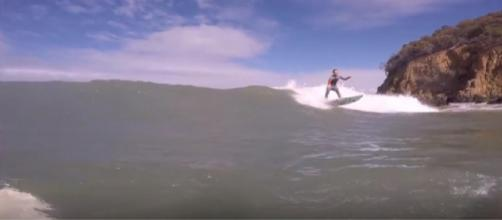 Surfing at Lauderdale Point, Tasmania. [Image source/Tom456 YouTube video]